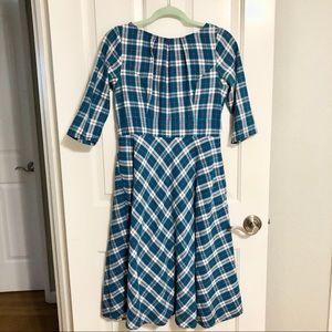 Eshakti Flannel Plaid Teal A-Line Dress